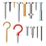 Set of bolts nuts nails. Various iron screws collection Stock Photo
