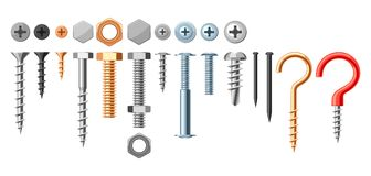 Set of bolts nuts nails. Various iron screws collection Royalty Free Stock Photography