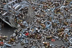Set of bolts screws and nuts Stock Photos