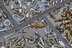 Set of bolts, screws and nuts Stock Images