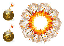 Set of bombs with currency symbols and explosion Stock Photography