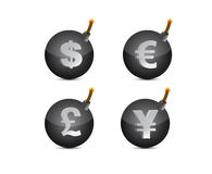 Set of bombs with currency-symbols illustration Stock Image