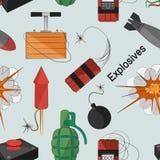 Set of bombs. Explosives pattern Stock Photo