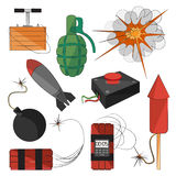 Set of bombs. Explosives. Set of bombs for your design. Explosives Stock Photos