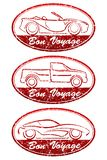 Set of 3 Bon Voyage grunge style oval red rubber stamps with car. S. There are cabriolet, pickup and sport car vector illustration