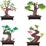 Set of bonsai trees. vector illustration. stock illustration