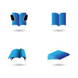 Set of book icons in blue color - vector graphic. Royalty Free Stock Images