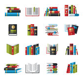 Set of book icons in flat design style Royalty Free Stock Images