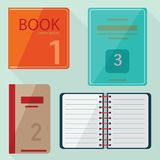 Set of book icons in flat design style Stock Images