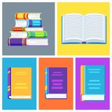 Set of book icons. Education or bookstore illustration in flat design style Royalty Free Stock Images
