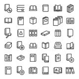 Set of 36 book thin line icons. High quality pictograms of read. Modern outline style icons collection. Diary, library, pages, textbook, etc Stock Image