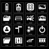Set of Bookmark, Notebook, Folder, Settings, User, Speaker, Menu vector illustration