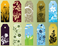 Set of bookmarks. Set of ten different vector floral  bookmarks Royalty Free Stock Photos