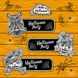 Set bookmarks or banners for coloring on Halloween with pumpkins owl. Set creative bookmarks or banners for coloring on Halloween with pumpkins owl black and stock illustration