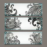 Set of  bookmarks with  elegant paisley ornaments Royalty Free Stock Photography