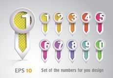 Set of bookmarks with numbers Royalty Free Stock Photography