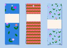 A set of bookmarks. Simple cute tulip pattern on blue and orange background. Tags, labels with floral print. vertical banners stock illustration