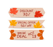 Set of bookmarks sticker tags autumn leaves Stock Photos