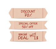 Set of bookmarks sticker tags retro Royalty Free Stock Photos