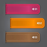 Set of bookmarks, stickers, labels, tags. Numbered. Banners. Vector template for infographics Royalty Free Stock Photo