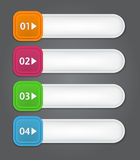Set of bookmarks, stickers, labels, tags. Numbered. Banners. Vector template for infographics Royalty Free Stock Photography