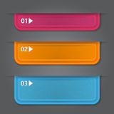Set of bookmarks, stickers, labels, tags. Numbered. Banners. Vector template for infographics Royalty Free Stock Images