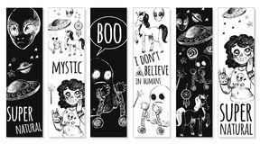 Set bookmarks with mystical objects. Set of bookmarks. Vector illustration sketch style. Mystery, strange, unusual, supernatural. Black and white Stock Photography