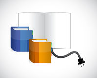 Set of books and cables illustration design Stock Photo