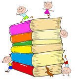 A set of books, children playing. Vector. Illustration Royalty Free Stock Photos