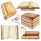 Watercolor set of books. Set of books In different positions. Watercolor hand painted illustration stock illustration