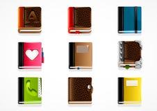 Set of books. Set of nine different books on white background Stock Photo