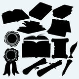 Set books and parchments scrolls Royalty Free Stock Images