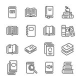 Set of books or reading outline icons. Vector illustration. Set of books or reading outline icons isolated on white background. Vector illustration royalty free illustration