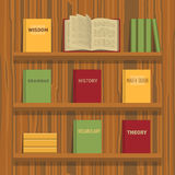 Set of books and tutorials. Isometric flat vector. Set of new flat colorful books and tutorials on a bookshelf and one open book. Classbooks and textbooks icons Royalty Free Stock Images
