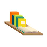 Set of books and tutorials. Isometric flat vector. Stack of new 3d colorful books and tutorials on a bookshalf and one open book. Isometric flat classbooks and Stock Image