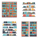 Set of bookshelves and bookcase with books. Vector illustration. Stock Images
