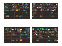 Set of Bookshelves Filled with Books Flat Vector. Set of bookshelves filled with books. Classic bookcases with stacks and rows colorful books flat vector Royalty Free Stock Images