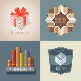 Set of bookstore, bookshop vector icon, logo. Graphic design element with books on shelf and books as gift for store Stock Photography