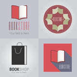 Set of bookstore or library vector logo Stock Photography
