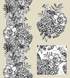 Set of border, pattern, and illustration with different flowers Stock Images