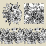 Set of border, pattern, and illustration with different flowers. Graphic drawing, pointillism technique. Set of floral elements to create compositions royalty free illustration