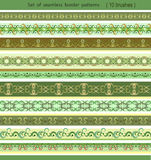 Set of  border patterns. Set of seamless border patterns in green tones, brushes included Royalty Free Stock Images
