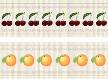 Set border, vector. Set a border with illustrated cherries and peaches around lined with fine calligraphic details that make the frame borders. Illustration Stock Image
