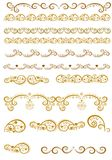 Set of borders with Christmas golden elements Stock Photography