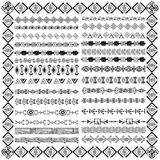 Set of borders in ethnic tribal style. 30 pattern brushes inside Stock Photo