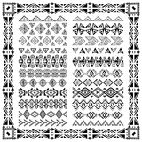 Set of borders in ethnic tribal style. 30 pattern brushes inside Royalty Free Stock Photo