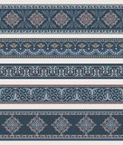 Set of borders, frames with ancient ornaments. Seamless pattern incl. Vector Royalty Free Stock Images
