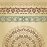 Set of borders and half-round with nordic ethnic ornaments Royalty Free Stock Images