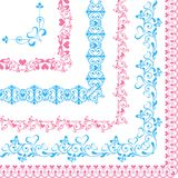 Set of borders with hearts and butterflies blue and pink Royalty Free Stock Images