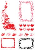 Set of Borders  with hearts Stock Image